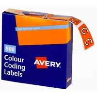 Labels Side Tab Letter C box 500 Avery 43203 25x38mm Colour Coding