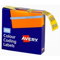 Labels Side Tab Letter E box 500 Avery 43205 25x38mm Colour Coding