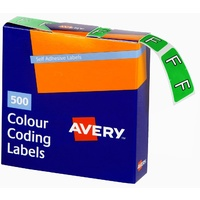Labels Side Tab Letter F box 500 Avery 43206 25x38mm Colour Coding