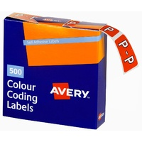 Labels Side Tab Letter P box 500 Avery 43216 25x38mm Colour Coding