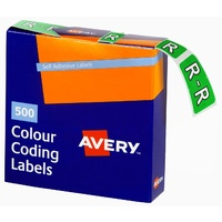 Labels Side Tab Letter R box 500 Avery 43218 25x38mm Colour Coding