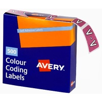 Labels Side Tab Letter V box 500 Avery 43222 25x38mm Colour Coding