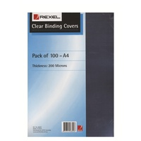Binding Cover Clear A4 200 Micron box 100 Rexel 48302