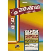Transparent Signs Inkjet A4 Avery Celcast IJ107 70924 - Pack 5