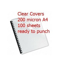 Binding Cover Clear A4 200 Micron box 100 Meter AC200