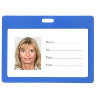 ID Card Holder Plastic Landscape Blue Pack 6 Rexel 9901101 90x55mm pouch
