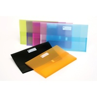 Document Wallet FC Marbig Polypick PP 2011099 pack 12 Summer Colours Translucent  Foolscap