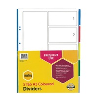 Dividers A3  5 Tab Multi PP Portrait 38805 Marbig