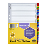 Dividers A4 31 TAB 1 to 31 Tab Reinforced Board Assorted Tabs 35028F Marbig
