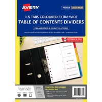 Dividers A4  5 tab PP 1-5 Tabs L7411-5 Extra wide laser Inkjet Bright 85665
