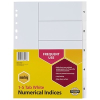Divider A4 Marbig Indices PP 1 to 5 35101 White