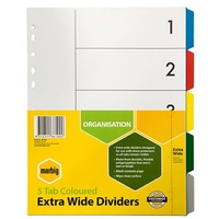 Dividers A4  5 Tab PP Extra Wide Dividers 36100 Multicolour Marbig   set 5