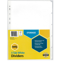 Dividers A4  5 tab Manilla White 37300F reinforced strip Marbig