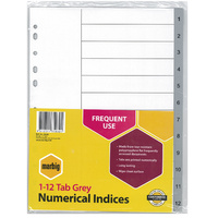 Dividers Numerical A4 1-12 Marbig 35030 Grey