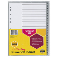 Dividers A4 1-31 Tabs Marbig 35040 PP Grey polypropylene