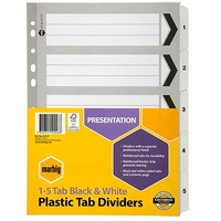 Dividers A4  5 TAB PP  Black & White 35111F Marbig