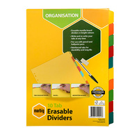 Dividers A4 Marbig Manilla Board 10 Tab Erasable 37910F Multi Coloured Tabs