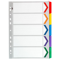 Extra Wide Dividers A4 Board 1-5 Tab Reinforced Tab Multi colour Marbig 36150 - set 5