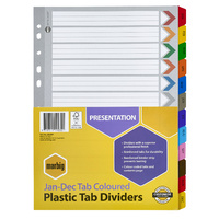 Dividers Jan - Dec Marbig 35029F A4 Plastic Tab Coloured Dividers Reinforced Tab