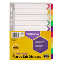 Dividers A4 Marbig 10 Tab Fluoro Plastic Tab Dividers 36017