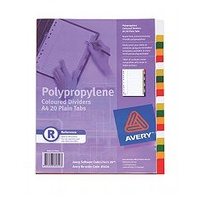 Divider A4 Avery Polyprop 20 Plain Tabs Coloured L7411/20 85624 - set