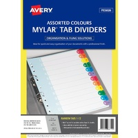 Dividers Numerical A4 1-12 Avery 88712 White Rip Proof Rainbow Tabs