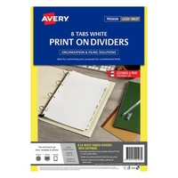 Dividers A4  8 Tabs Print on L7420-8 Laser Inkjet 920193 Avery White Manilla board