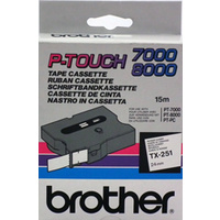 Brother TX251 P-touch 24mm Black On White Brother TX251 - each
