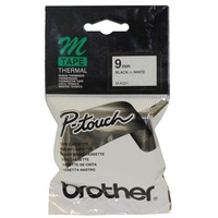M-K221 P-touch 9mm Black On White Brother MK221 Non-Laminated Tapes - each