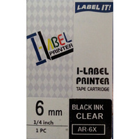 Labeller tape Casio  6mm BLACK on Clear 8 metre Casio XR6X - each