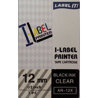 Labeller tape Casio 12mm BLACK on Clear 8 metre Casio XR12XW - each