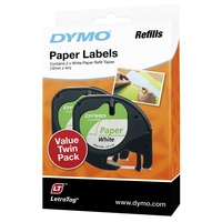 Dymo LetraTag Paper 12mm White pack 2 tapes SD92630