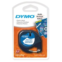 Dymo LetraTag Plastic 12mm Tape Cassette Pearl white Dymo SD91201