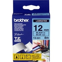 Brother TZe531 12x8m Laminated Black on Blue TZ-531 P-Touch - each