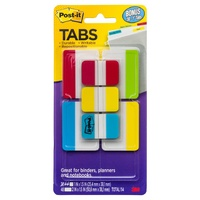 Tabs Post It Durable 25mm 50mm 686-VAD2 pack 114 Assorted Solid Colours