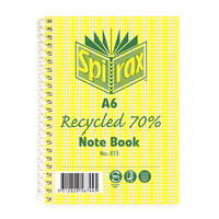 Notebook A6 Spiral 100 Page Spirax 813 pack 5 70% Recycled