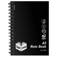 Notebook A5 200 page pack 5 P570 Spirax 210x148mm PP Side Open