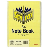 Notebook A4 Spiral 120 page Spirax #595 - pack 10 56058 Side open