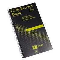 Cash Receipt Book Carbonless Duplicate 272 x 149mm 4 Up Quill Q553 Spiral - each