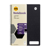 Notebook A4 Spiral 120 page pack 10 17187F Black side open Spiral Marbig PP