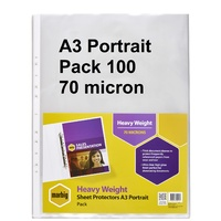 Sheet Protectors A3 Portrait  70 Micron Marbig 25103 box 100 Heavy Duty  Low Glare Deluxe