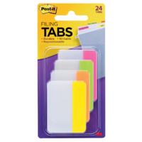 Tabs Post It Durable 50mm 686-PLOY pack 24 Solid Colour Pink Lime Orange Yellow