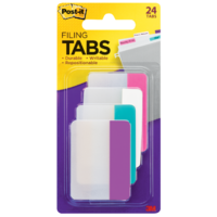 Tabs Post It Durable 50mm 686-PWAV pack 24 Solid Colour Pink White Aqua Violet