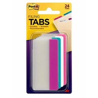 Tabs Post It Durable 75mm 686-PWAV3IN pack 24 Solid Colour Pink White Aqua Violet