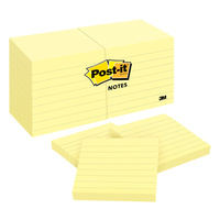 Post-It Note 630SS 76x76mm Lined Yellow Pack 12 Post-it® Notes, 76mm x 76mm 3M Canary