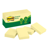 Post-It Notes 38x50mm Yellow 3M Recycled 653RP 0340026 - pack 12 small