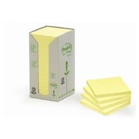 Post It Note  76x 76 654YR  Yellow Recycled Pack 16 3M Tower  Post-it® 100% Recycled Notes, 76mm x 76mm, Canary Yellow, 16 Pads/Tower