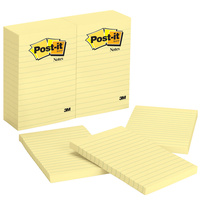 Post it Notes 101x152 660 Yellow Lined pack 12 pastel  3m 0282095 70016035019