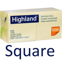 Post It Note  75x 75 x12 6549 Highland Yellow square ones 3M