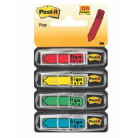 Flags Message Post-it 684-SH Sign Here Primary Colours 12x45mm 4pk 3M ID 70071358686